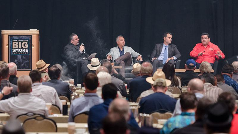 The Honduran Cigars seminar, from left: editor Gregory Mottola, Rocky Patel of Rocky Patel Premium Cigars, Christian Eiroa of CLE Cigars and Joel Alvarenga of Altadis U.S.A.