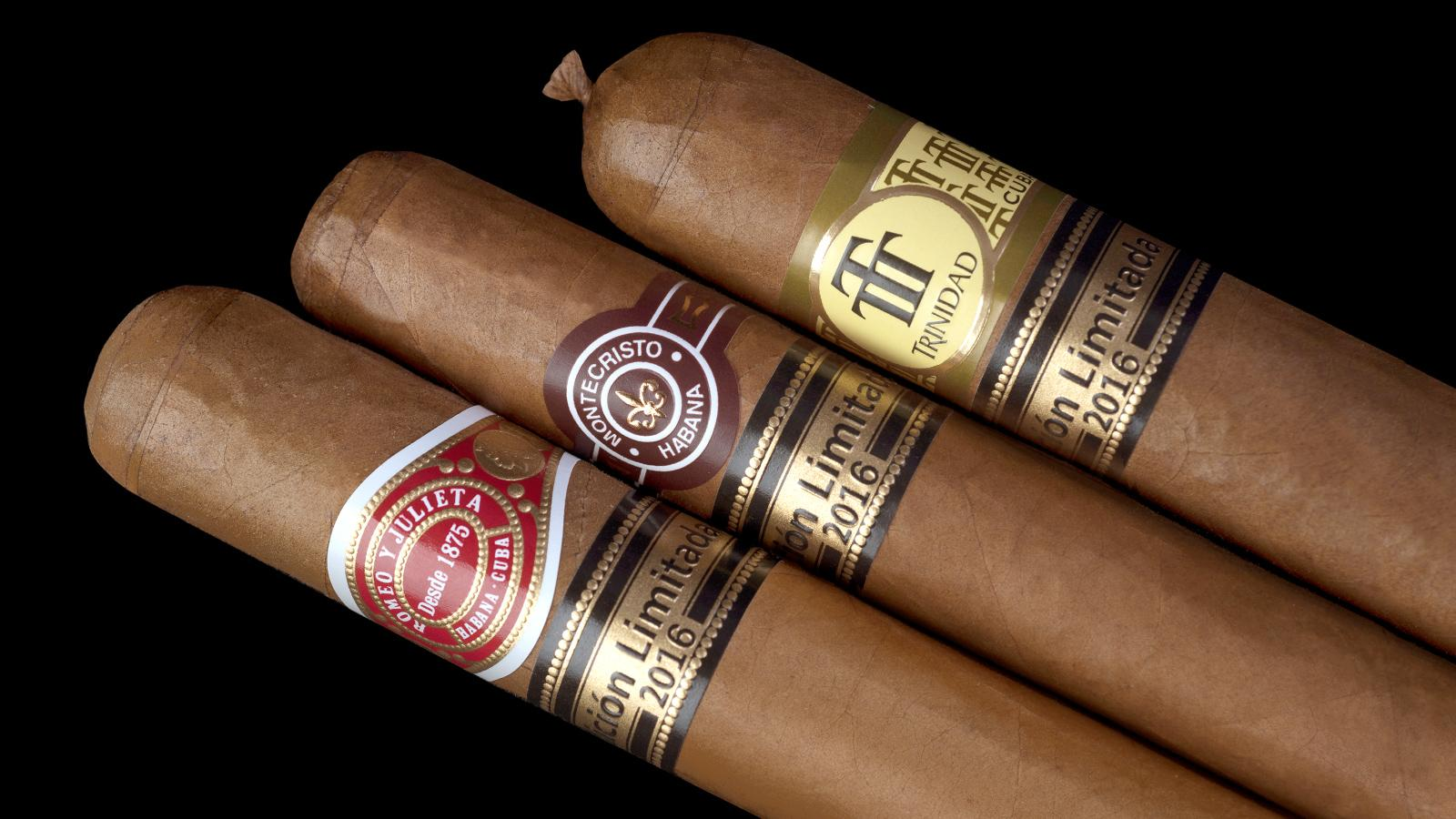 2016 Edición Limitada cigars: Romeo y Julieta Capuletos (left), Montecristo Dantes (center), and Trinidad Topes (right).
