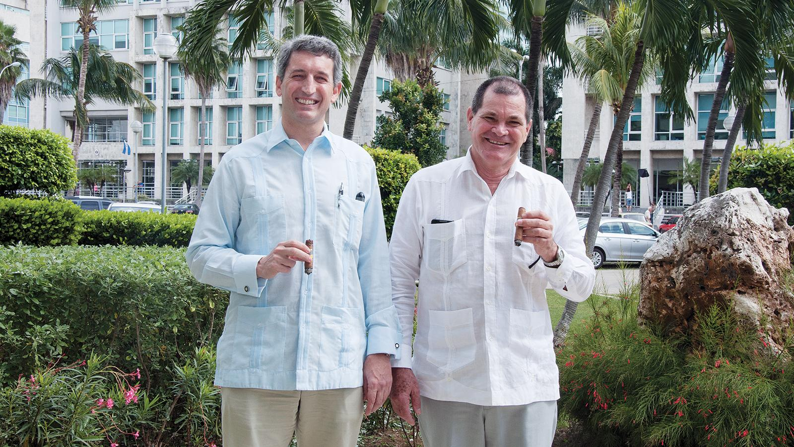The copresidents of Habanos S.A.: Luis Sánchez Harguindey (left) and Inocente Núñez Blanco are developing a gameplan for the day when Cuban cigars can be sold in the United States.