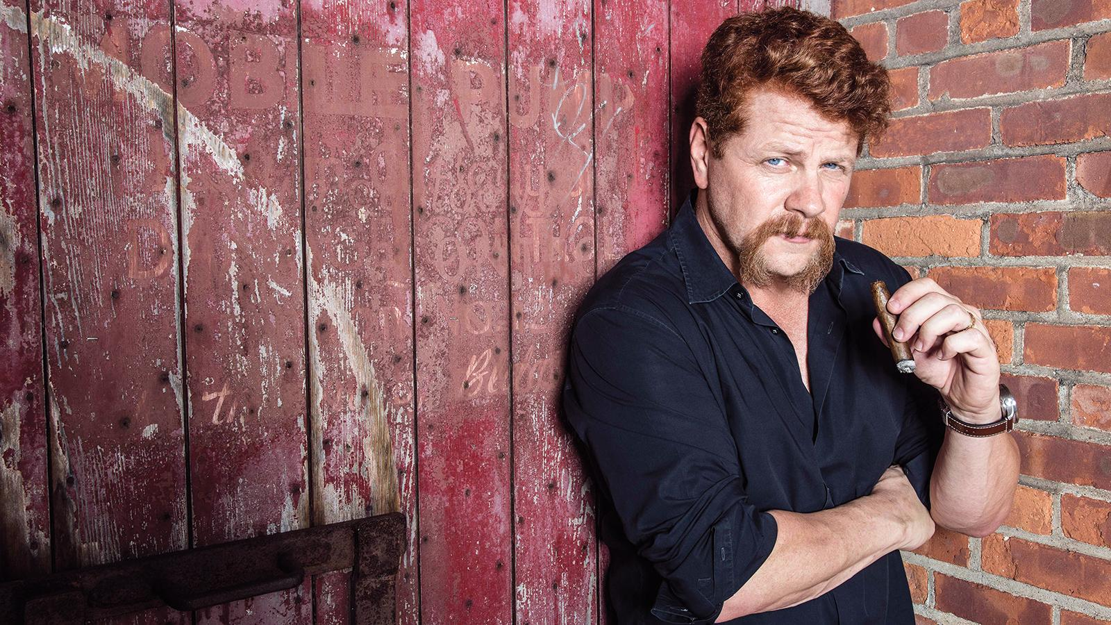 Michael Cudlitz burns his way through one of his favorite cigars, an Arturo Fuente Hemingway Signature, at the Brooklyn Navy Yard in New York City.