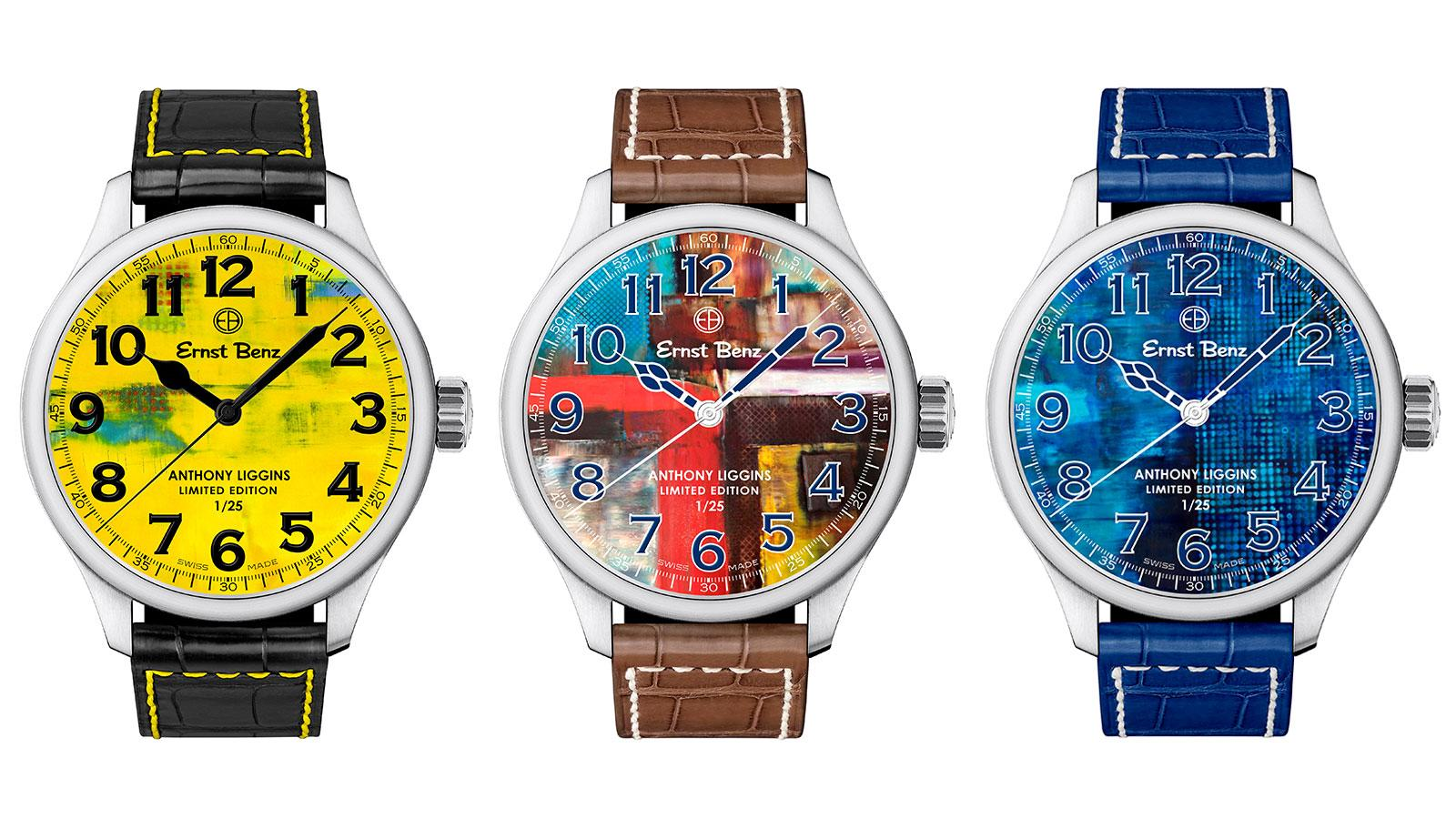 The new Ernst Benz by Anthony Liggins collection is a series of three, limited-edition, brushed stainless-steel ChronoSport models with vibrant, numbered dials that depict Liggins' paintings.