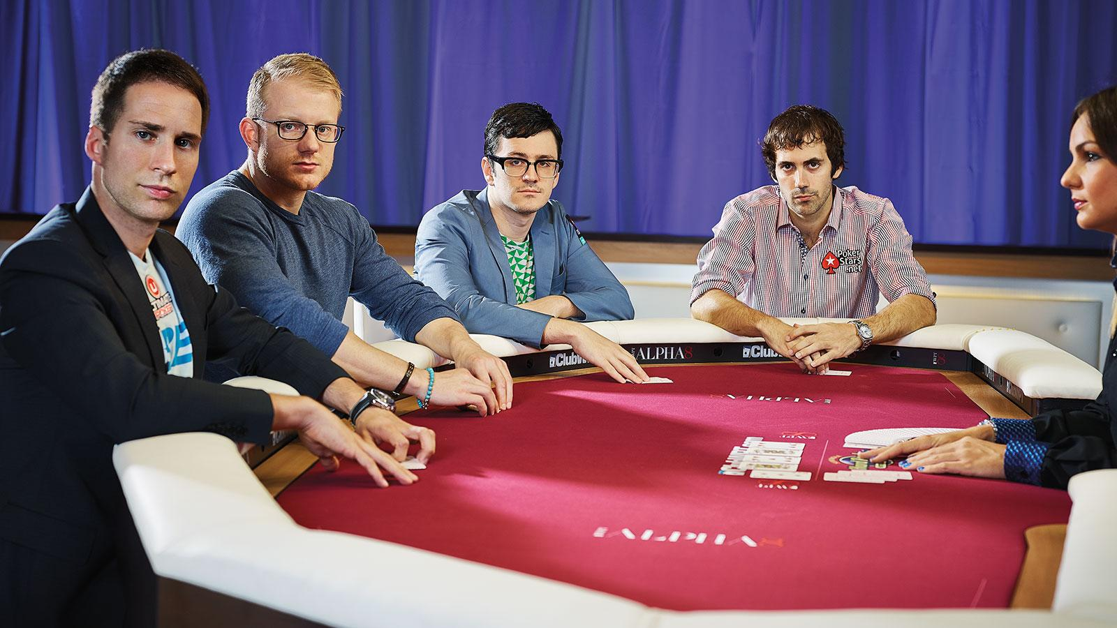 This new crop of talented poker players maintain luxurious travel lifestyles whenever they play in high-stake tournaments. From left to right: Jeff Gross, Jason Koon, Isaac Haxton and Jason Mercier.