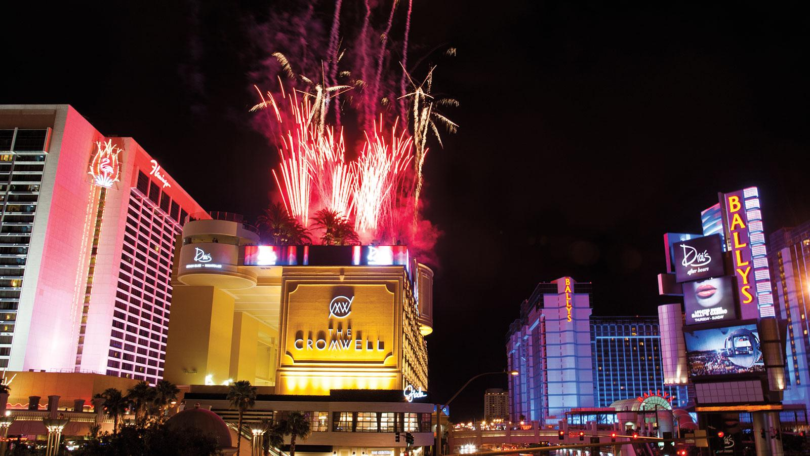 A view down the strip featuring The Cromwell (with fireworks), one of several newly-opened hotels that speak to Vegas's continued energy.