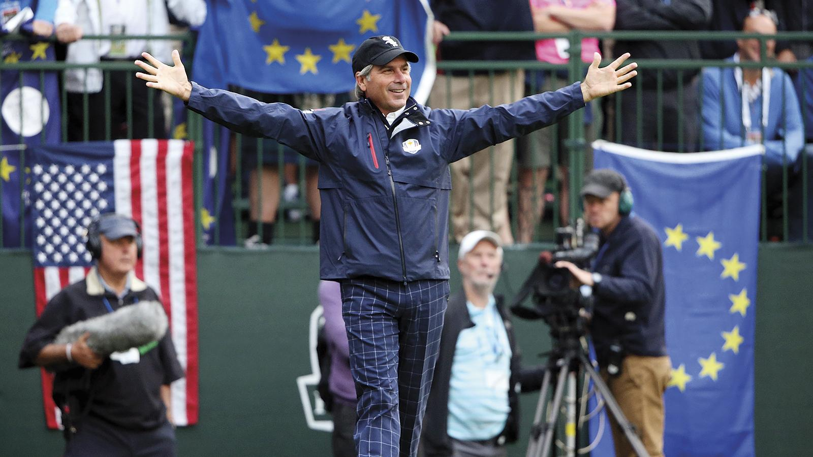2012 Ryder Cup vice-captain Couples waves to the crowd