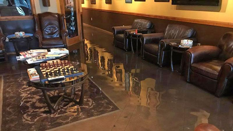 In the wake of Hurricane Harvey, Cigar Towne of Houston was left ravaged by more than a foot of floodwater.