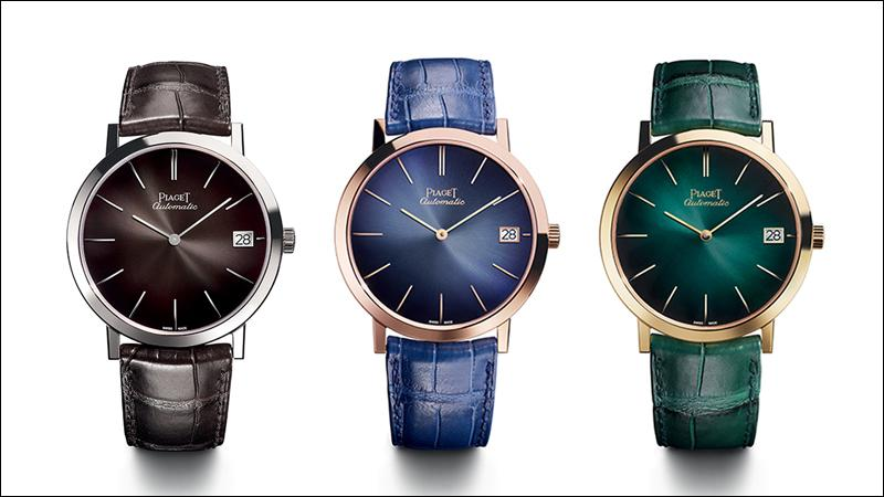 Piaget's Altiplano 60th Anniversary Collection from left: slate gray (white gold, $26,000), midnight blue (rose gold, $25,200) and emerald green (yellow gold, $25,200).