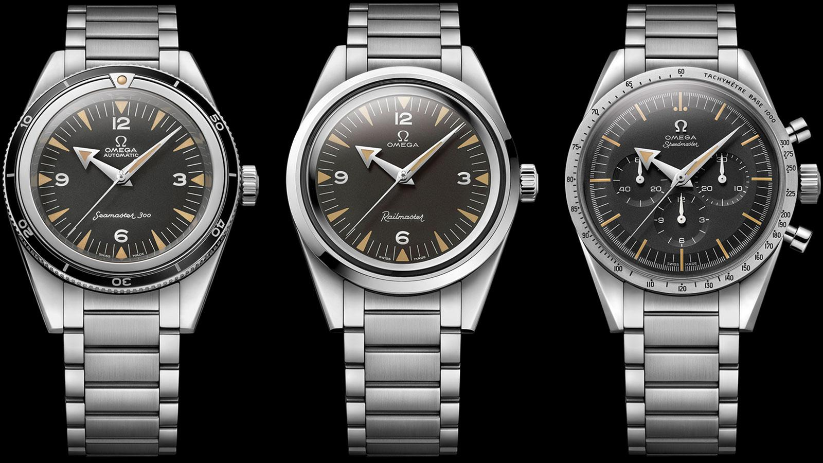 Omega is celebrating the 60th anniversary of three historic models with limited-edition recreations. From left: the Seamaster 300, Railmaster and Speedmaster.