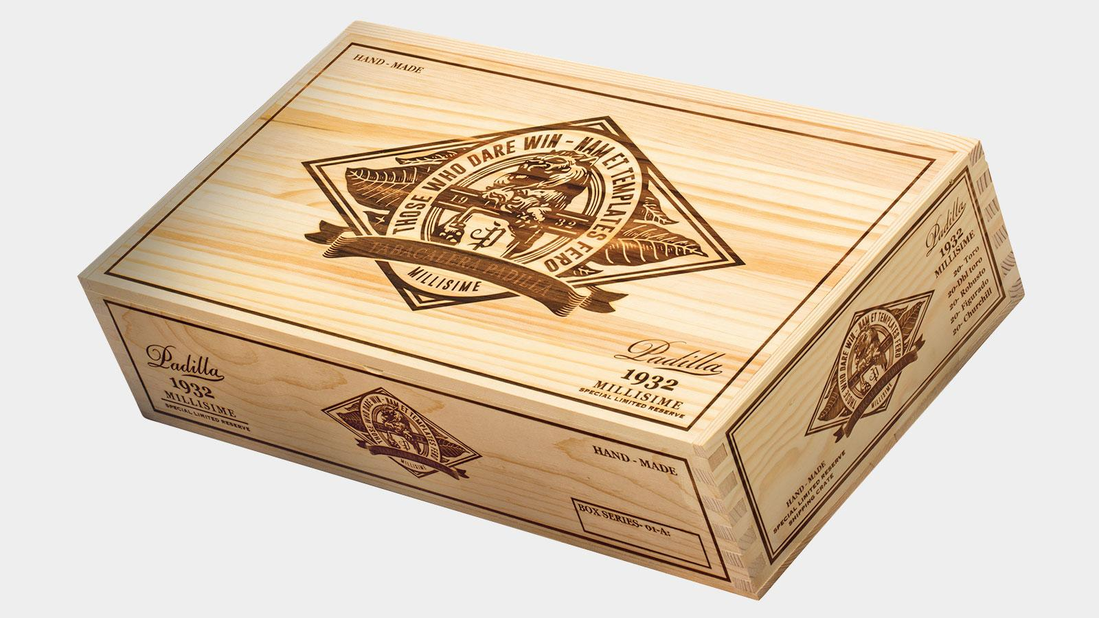 The packaging for Padilla 1932 Millisime is a take on what you would find in a crate of fine wines.