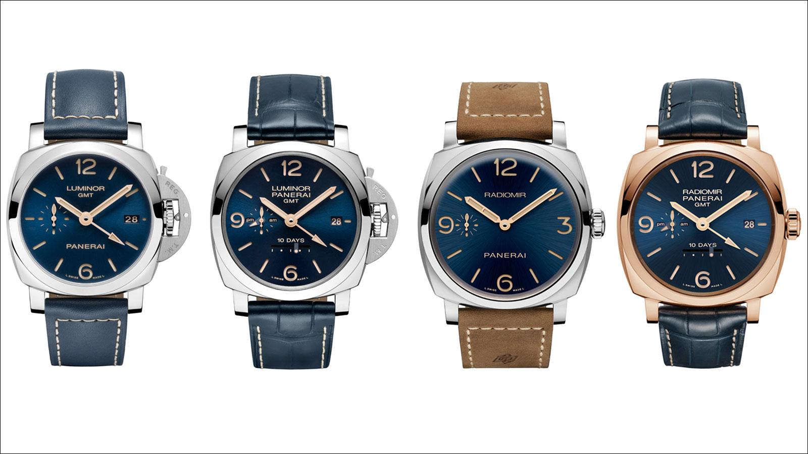 Panerai's Blue Dial Boutique Editions (left to right): Luminor 1950 3 Days GMT Automatic, Luminor 1950 10 days GMT Automatic, Radiomir 1940 3 Days, Radiomir 1940 10 Days Automatic Oro Rosso.