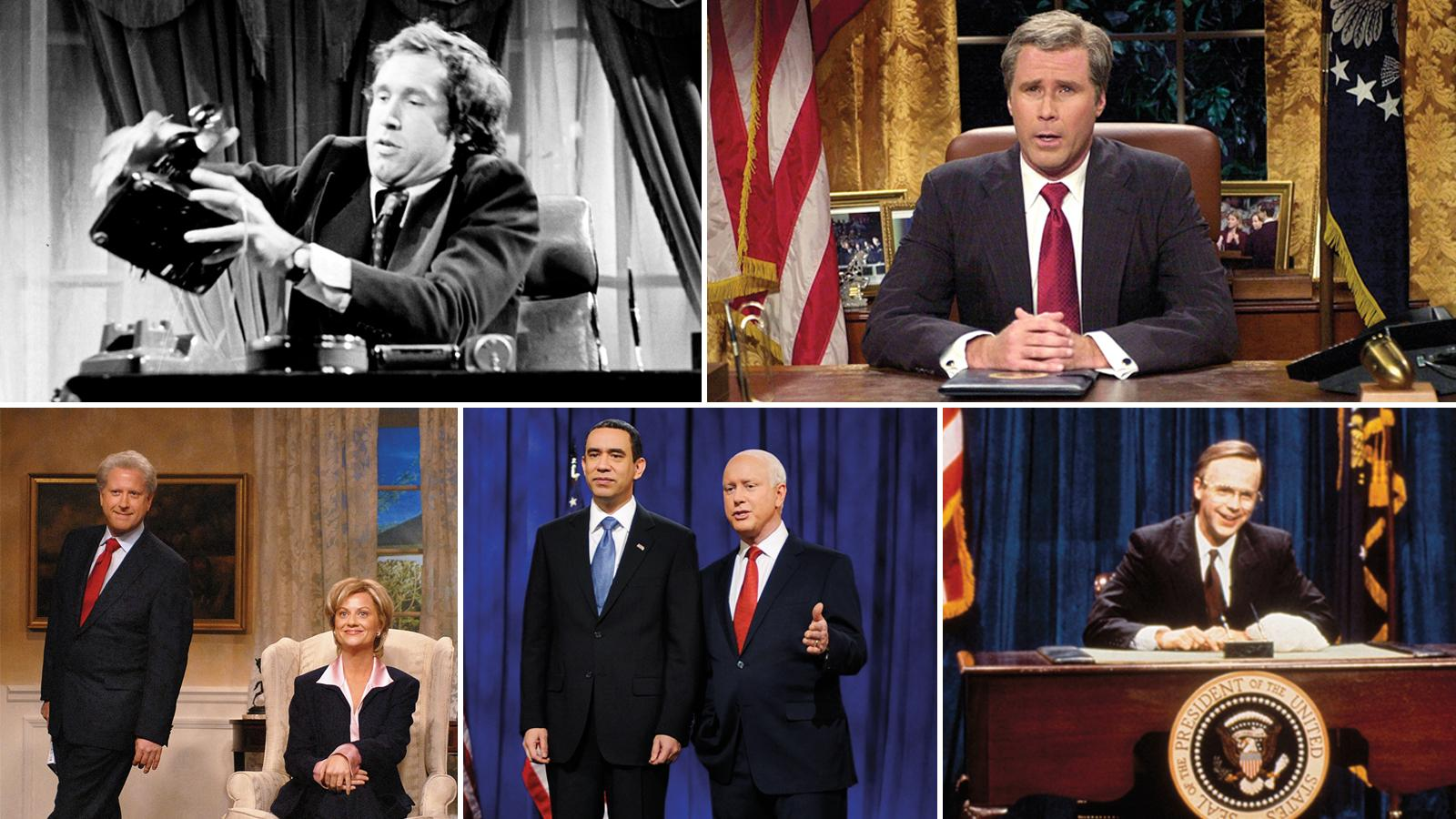 Clockwise from top left: Chevy Chase, Will Ferrell, Dana Carvey, Fred Armisen and Darrell Hammond, Darrell Hammond  and Amy Poehler.