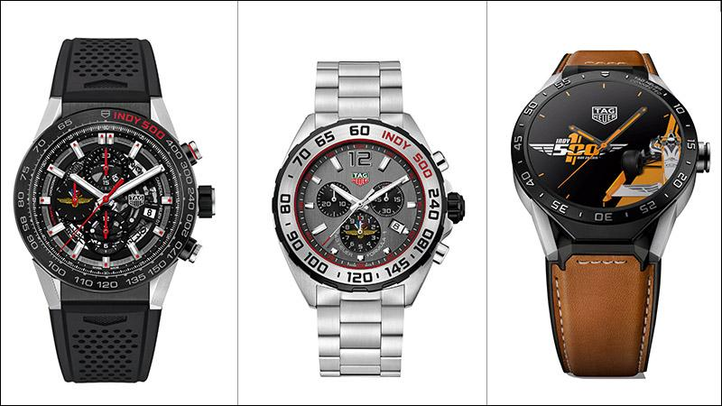 TAG Heuer debuted a trio of Indy-500 themed watches: from left to right, the Carrera Heuer 01, the Formula 1 Indy Limited and the Connected smartwatch.
