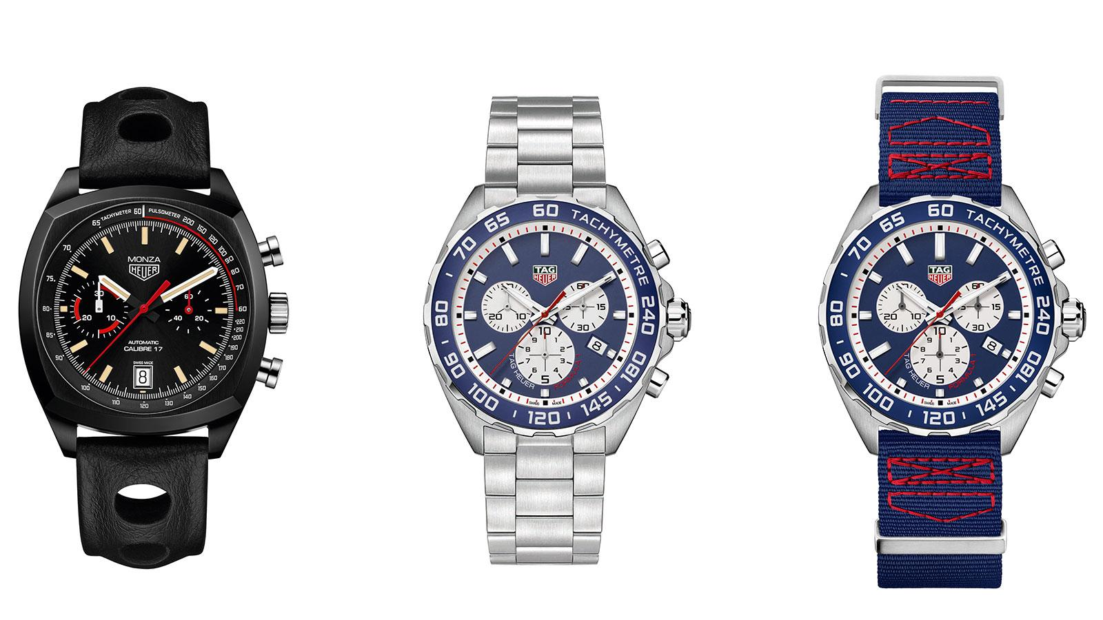 Tag Heuer recently debuted its new Monza (left) and Red Bull Racing Formula One timepieces (two on right).