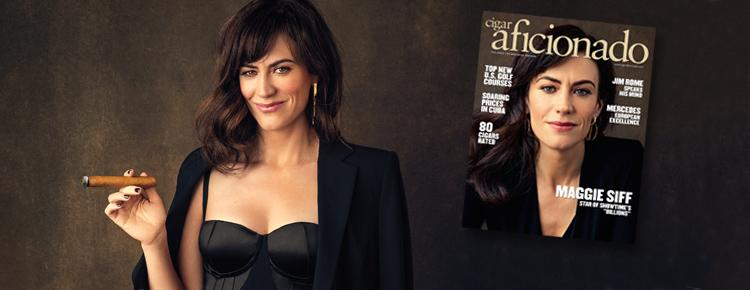 ON NEWSSTANDS: August's <em>Cigar Aficionado</em> Featuring Maggie Siff
