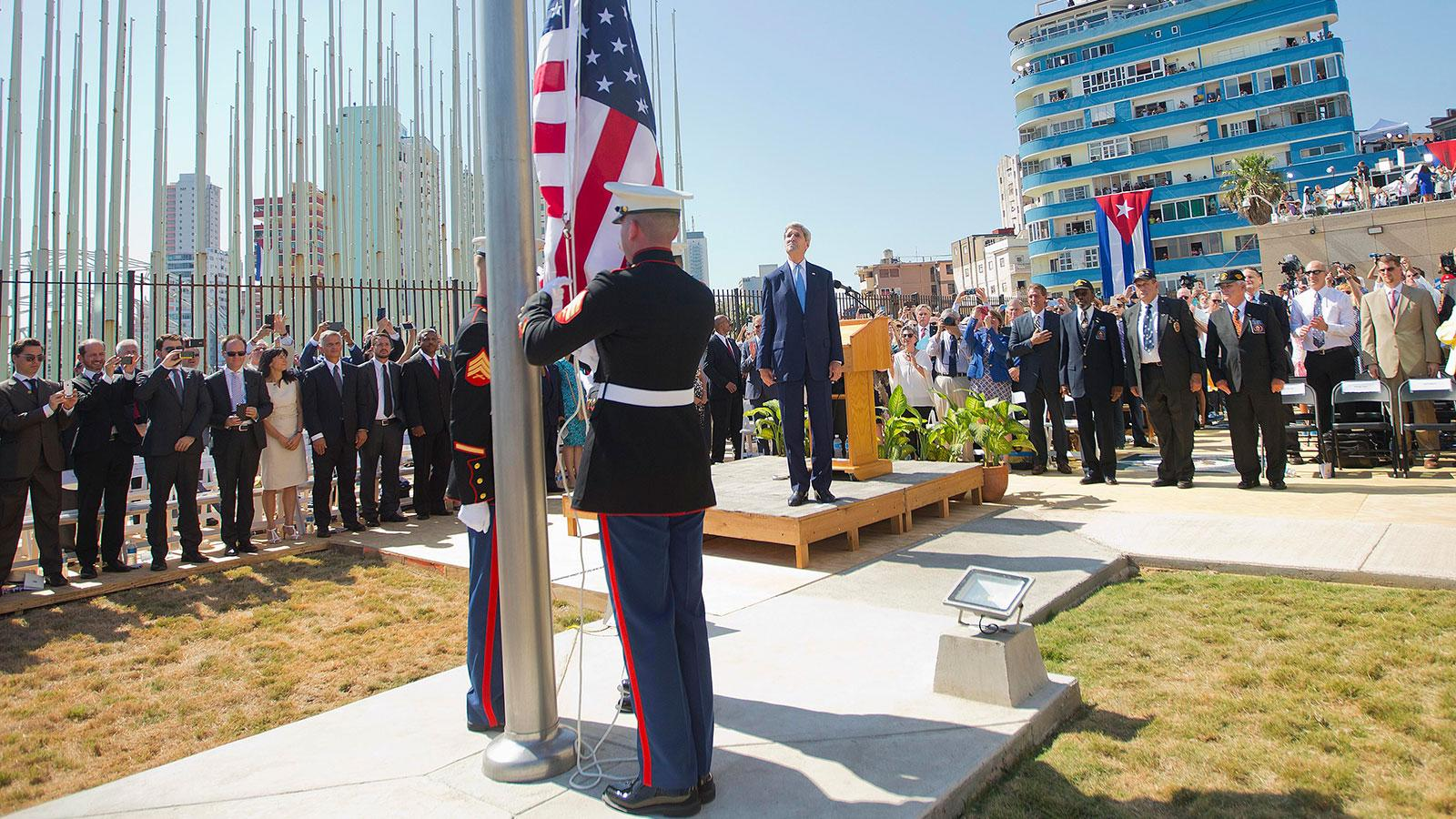 American Flag Raised At U.S. Embassy In Havana
