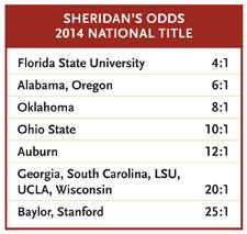 Danny Sheridan's national championship odds, 2014.