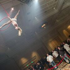 Cirque de Soliel aerialist performed on ribbons high above the floor for all to see.