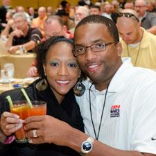 Kae and Robert Carey raise their Bloody Marys in a Las Vegas breakfast toast.