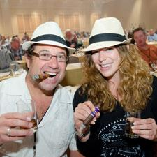 Paul Segal and April Angeloni enjoy the rum and cigar pairings.