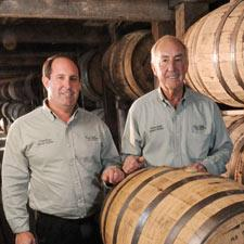 Portrait of master distiller Parker Beam with son Craig.