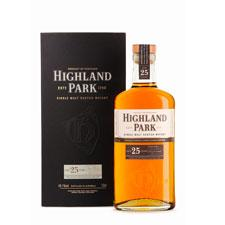 Product shot, HIghland Park 25 year old Scotch.