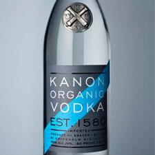 Bottle shot of Kanon vodka.