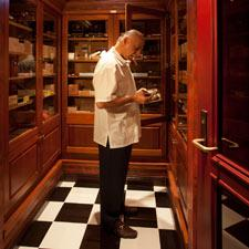 A customer inside Havana Club's humidor.