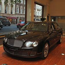 Showroom picture of the Linley limited-edition Bentley Continental 