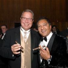 Sports analyst Ron Jaworksi with cigarmaker Rocky Patel.