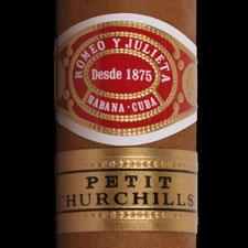 Close up of Romeo y Julieta Petit Churchill cigar.