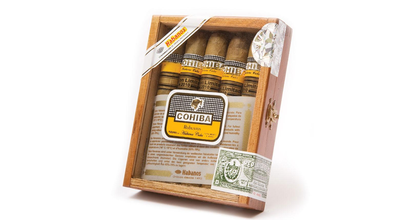 A glass-top box of fake Cohibas.