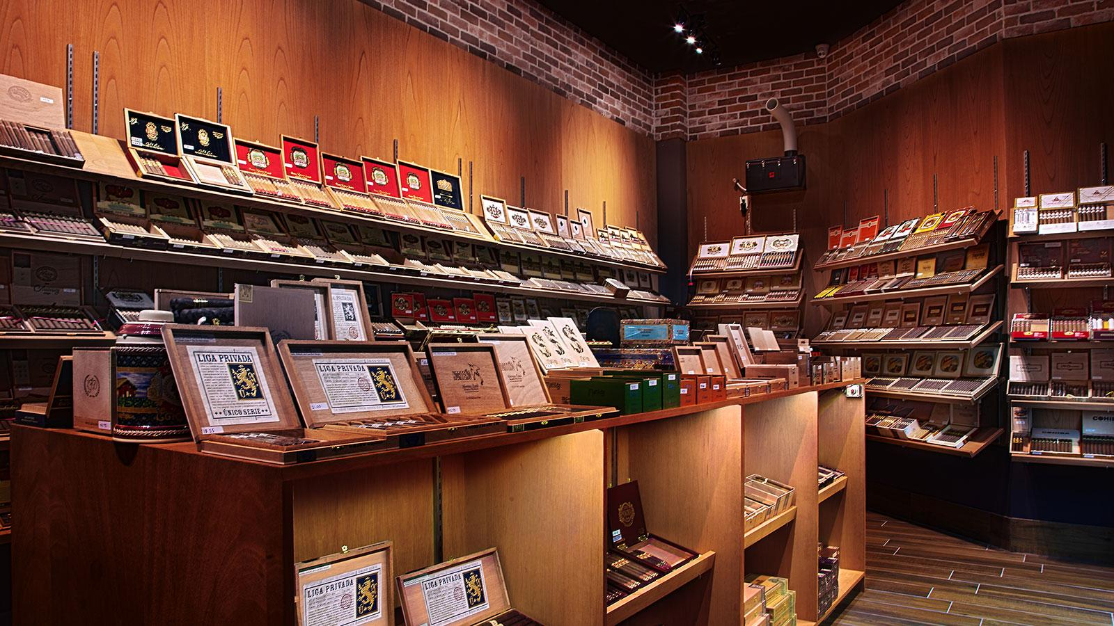 The humidor shelves are stocked with many great cigars, some of them hard to find.
