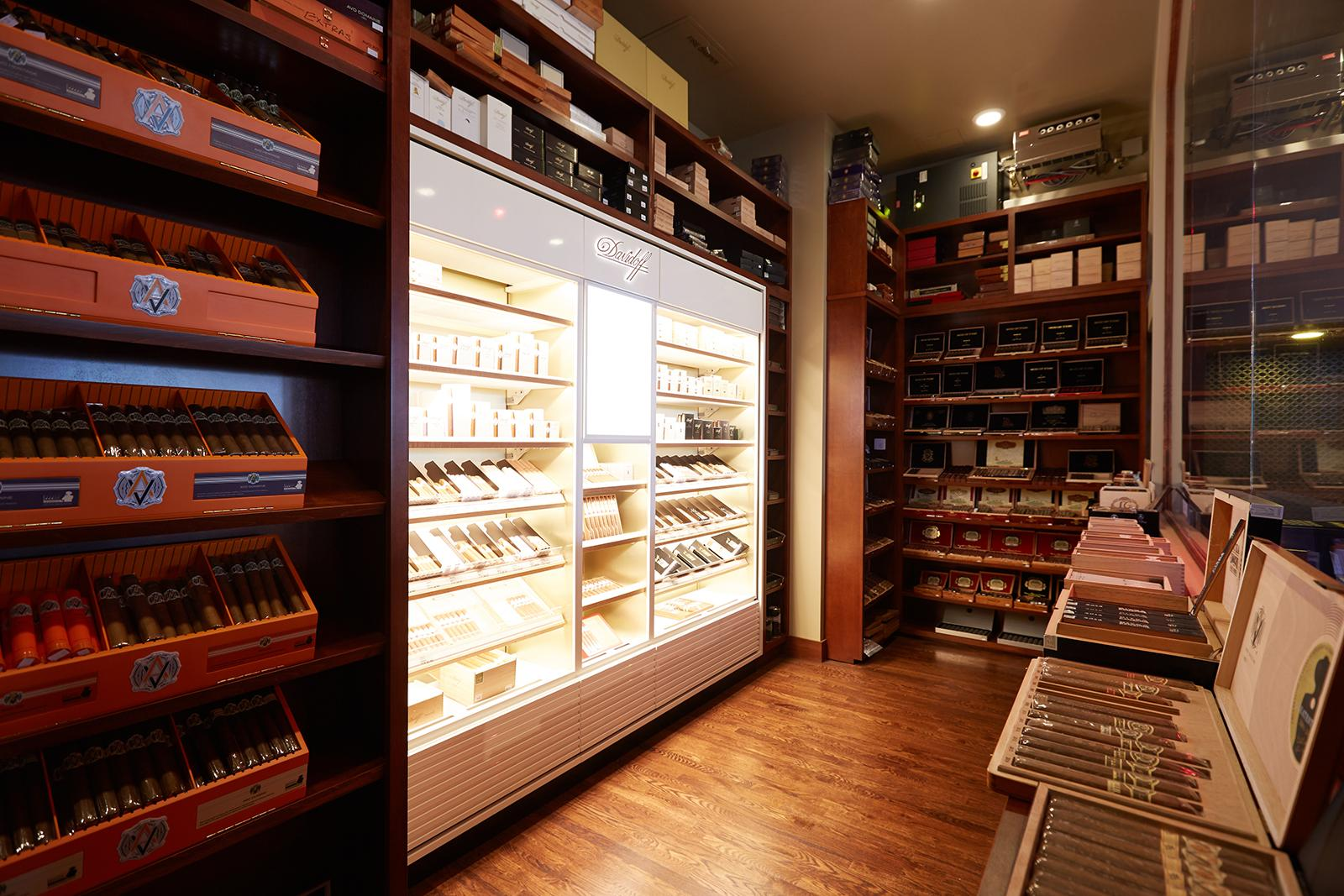 Besides the vast selection of Davidoffs, the humidor is stocked with top brands including Fuente, AVO and Diamond Crown.