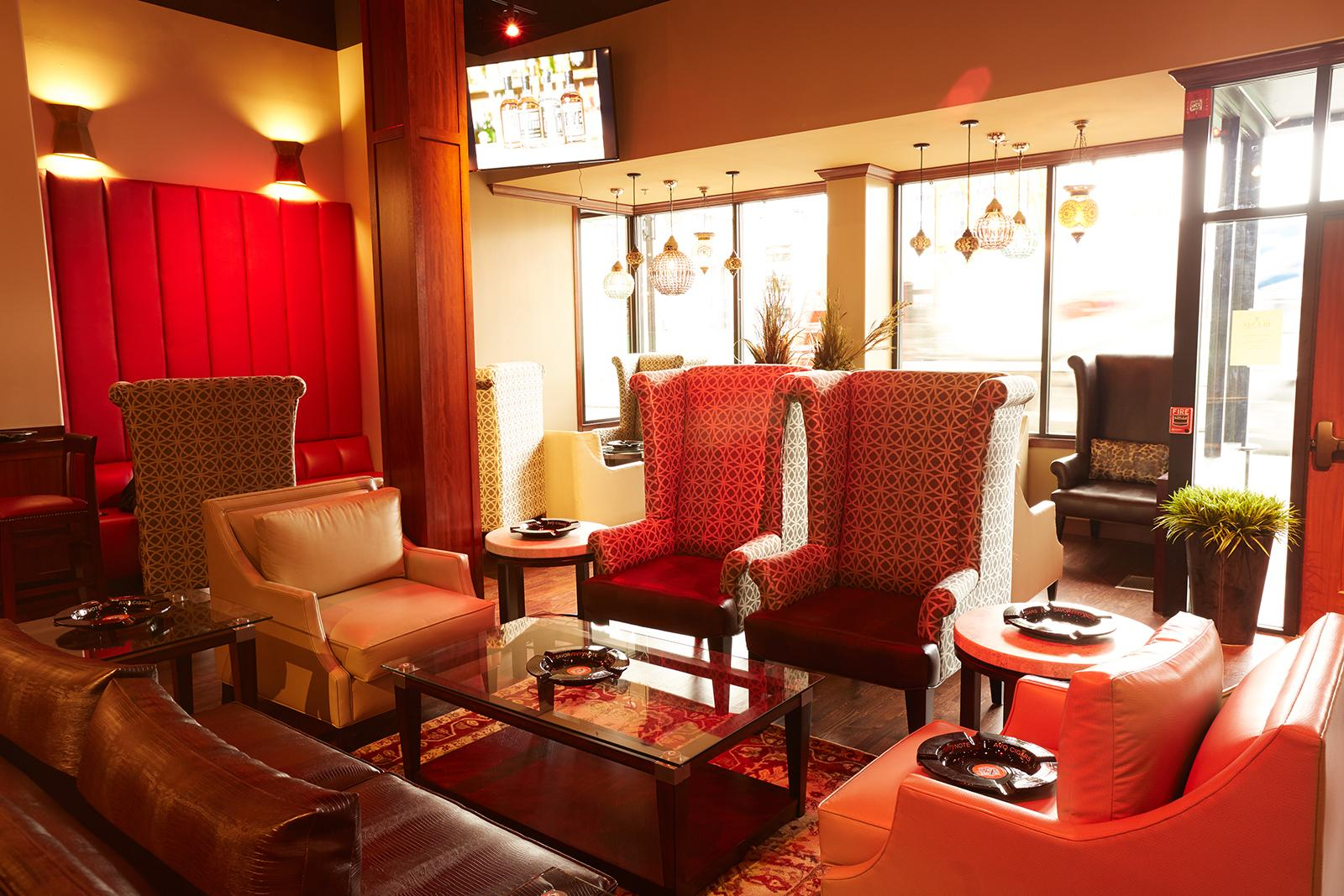The front sitting area offers cozy leather couches and easy chairs.