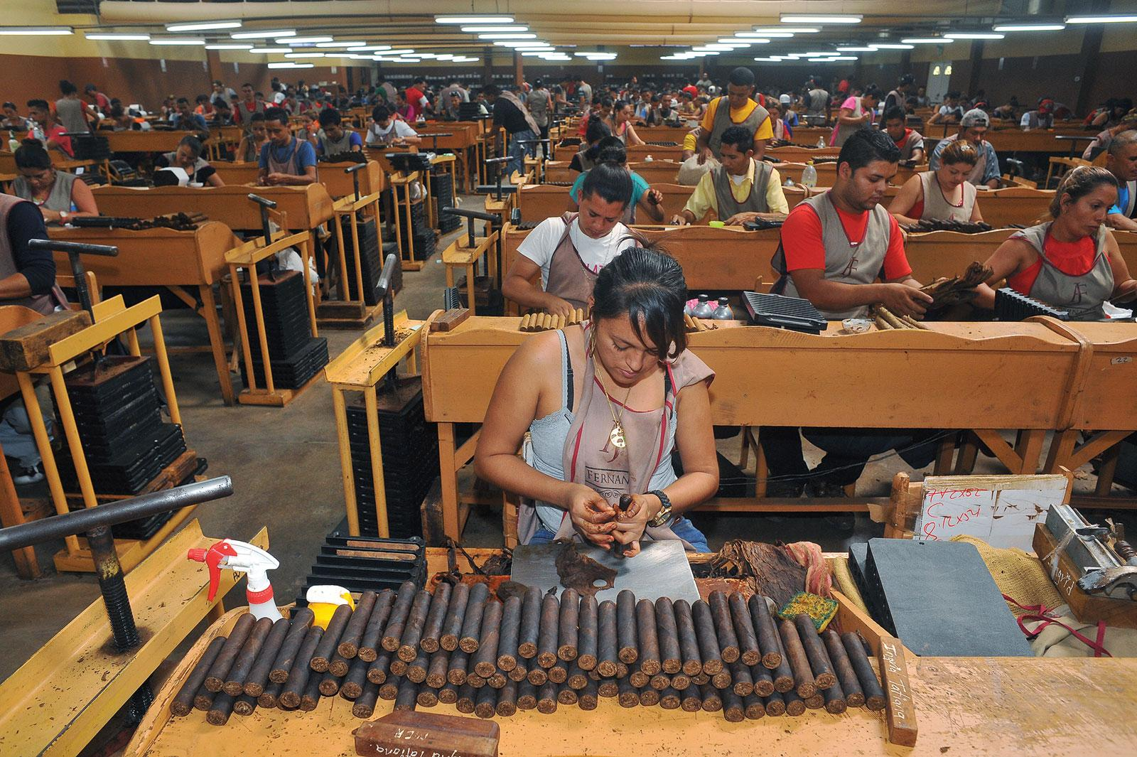 Fernandez's cigar rollers make 14 million smokes a year.
