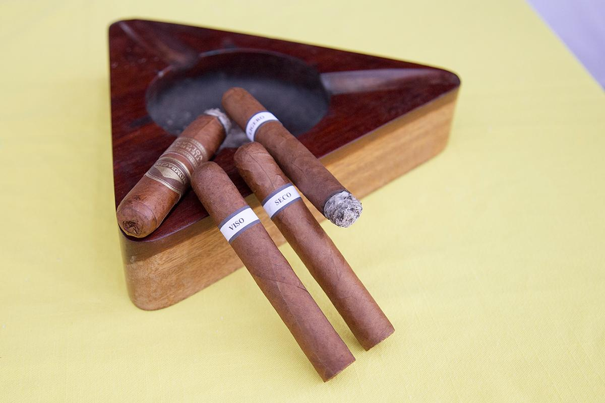 During a seminar, participants lit up three cigars, each a component of the final Liga Maestro blend: brawny ligero from the Jalapa Valley, sweet seco cultivated in Condega, and sweet/salty viso also from Jalapa.