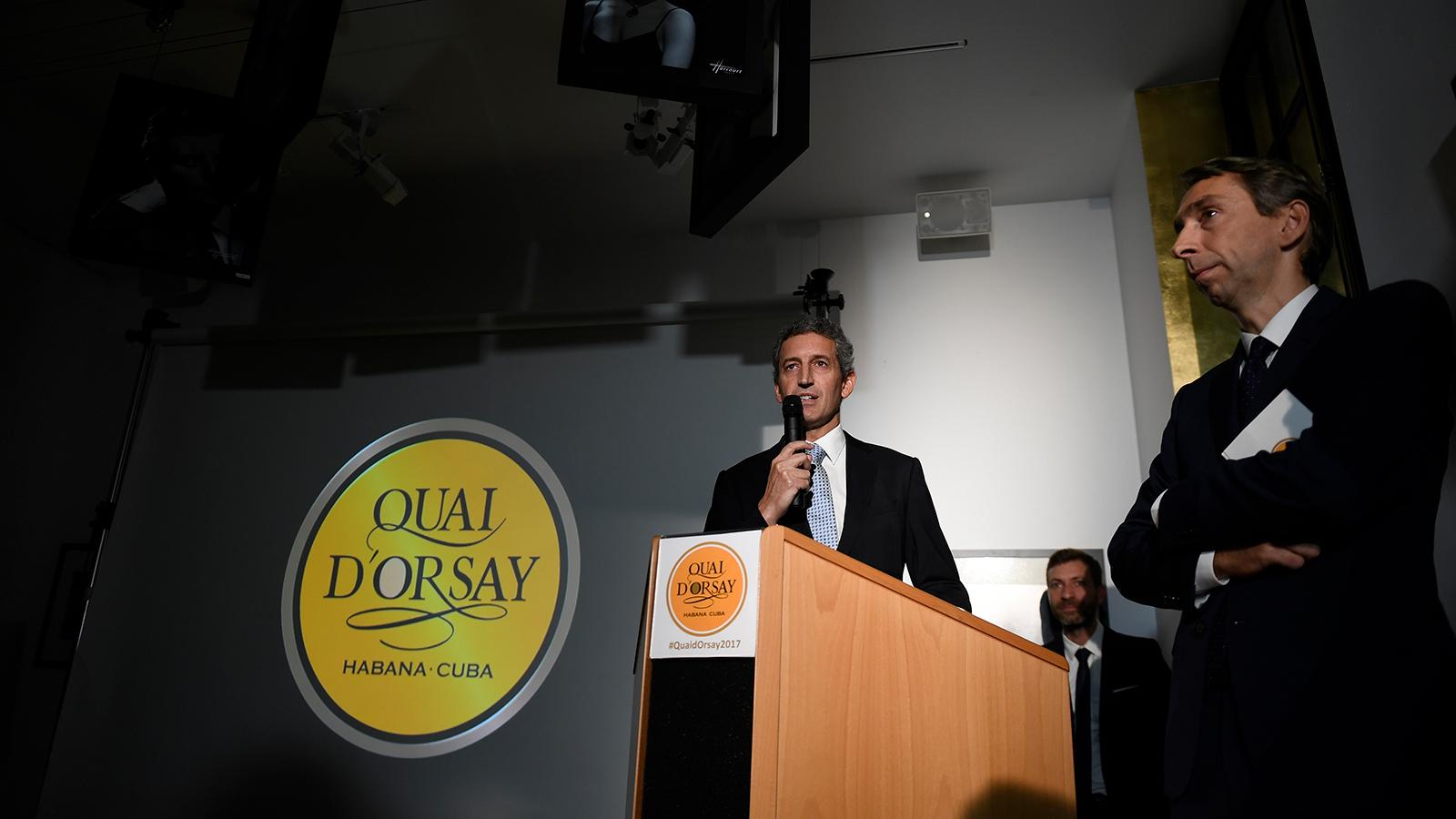 Luís Sánchez-Harguindey, co-president of Habanos S.A., speaking at the Quai d'Orsay event in Paris.