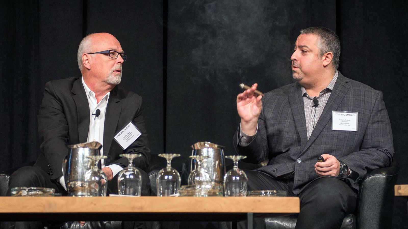 Senior contributing editor Gordon Mott and senior editor Greg Mottola take to the stage to host a seminar on spotting fake Cuban cigars.