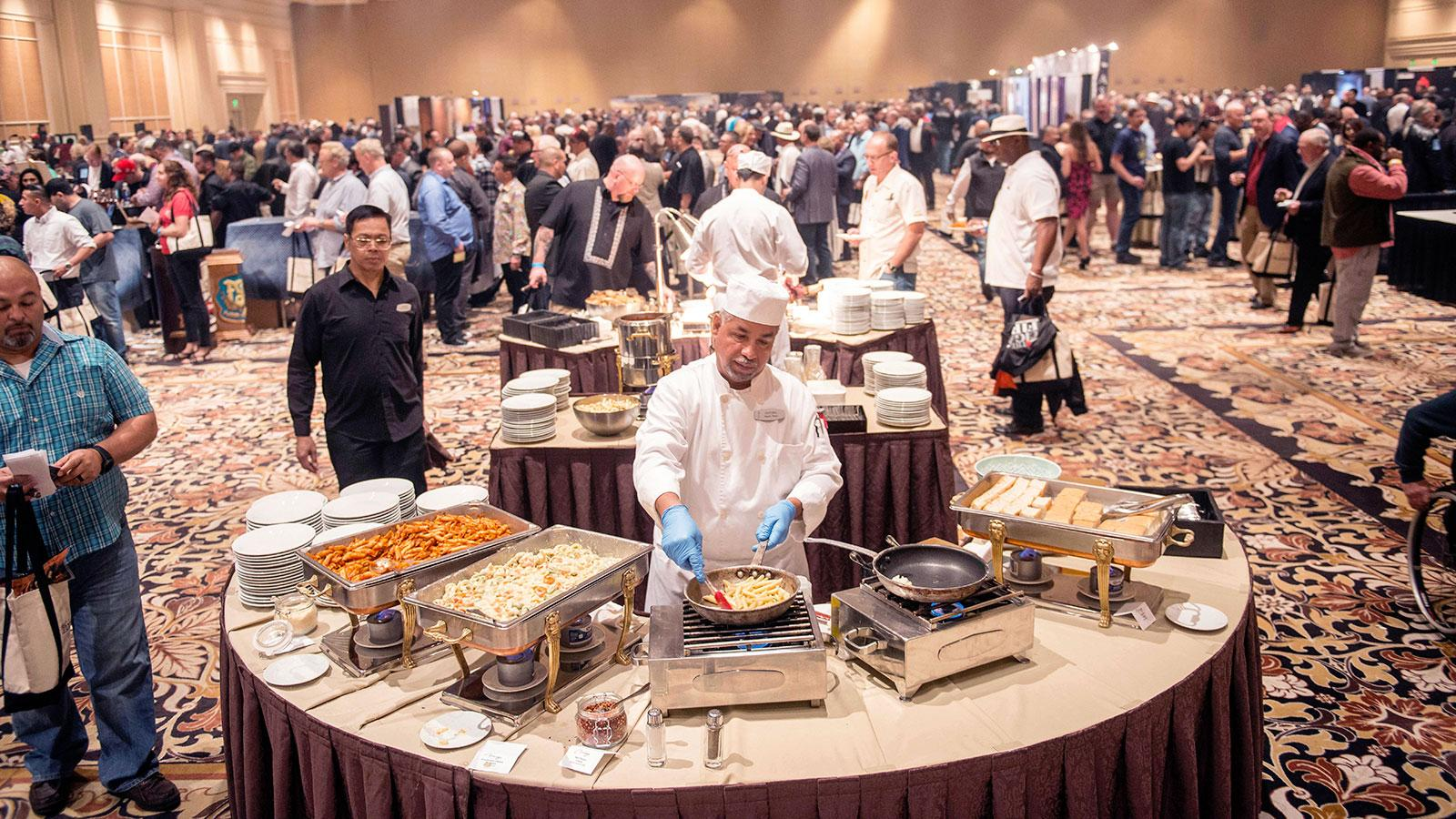 A chef at The Mirage cooks up fine food for cigar lovers to enjoy.