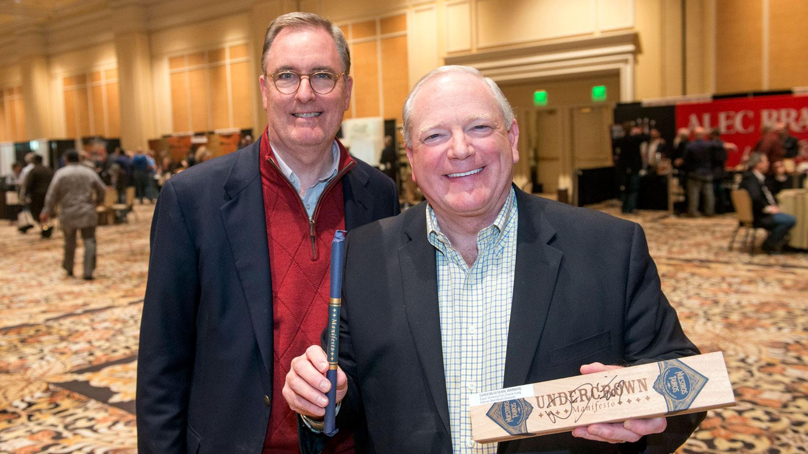 Kent Sullivan and Vidal Martinez with a special A size Undercrown from the Drew Estate booth.