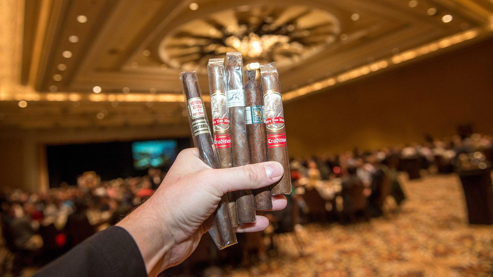 Rare cigars were handed out at lunch, including, from left, a Herrera Esteli Lancero Edición Limitada, a Pappy Van Winkle Tradition Lonsdale, Liga Privada Único Serie Velvet Rat, Liga Privada Único Serie Dirty Rat and a Pappy Van Winkle Tradition Corona Extra.
