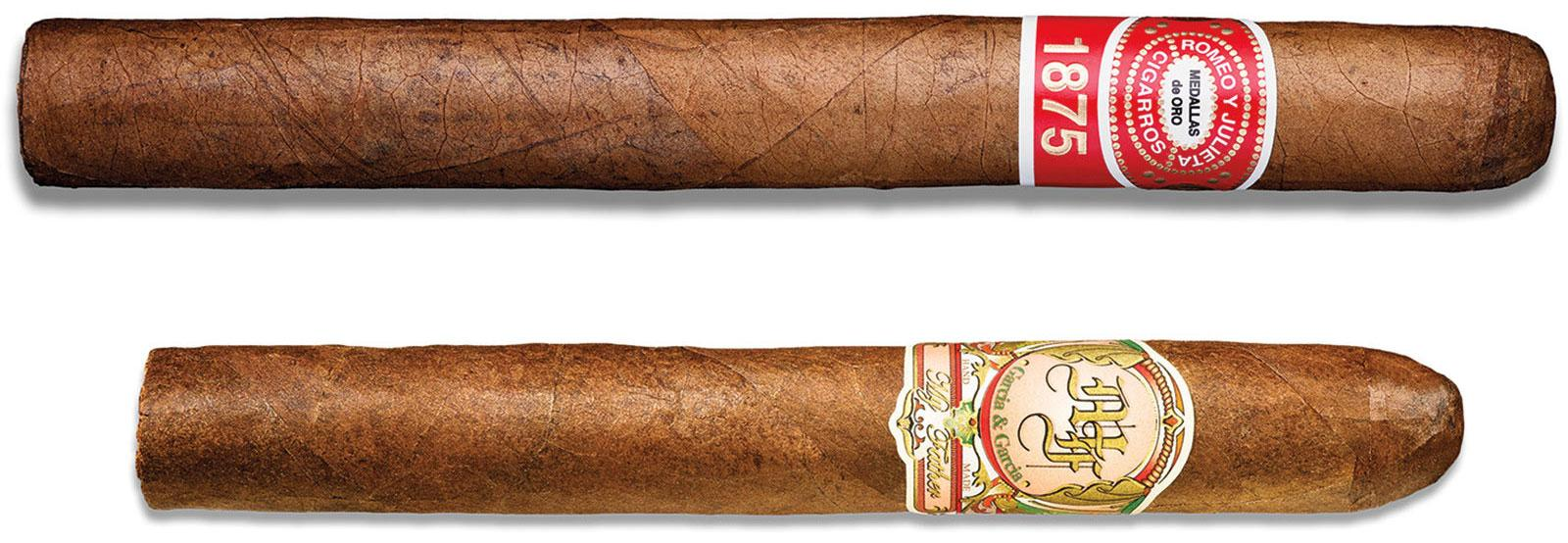 We paired a Romeo y Julieta 1875 Deluxe No. 1 (91 points, top) and a My Father No. 3 Crema (92, bottom) with an array of smoky Scotches.