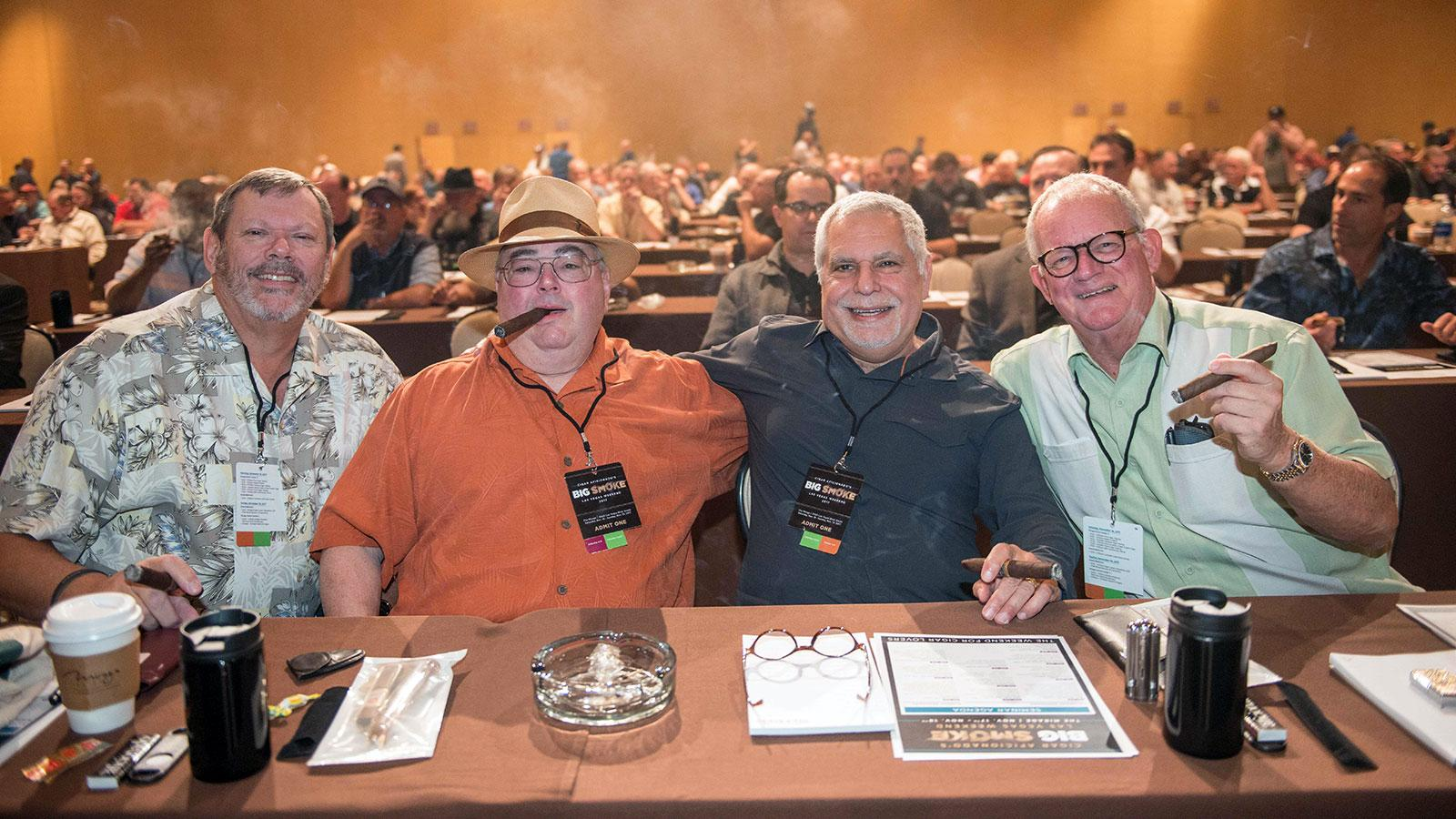 Kevin Breeland, Bob Francett, Jim Tenuto and Larry Sorenson puffing on the award-winning smokes during the Saturday seminars.