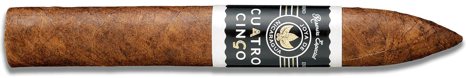 Joya de Nicaragua's Cuatro Cinco Reserva Especial showcases Nicaraguan filler tobacco aged in old oak casks. The Torpedo, shown here, scored 92 points in Cigar Aficionado's January 2017 tasting.