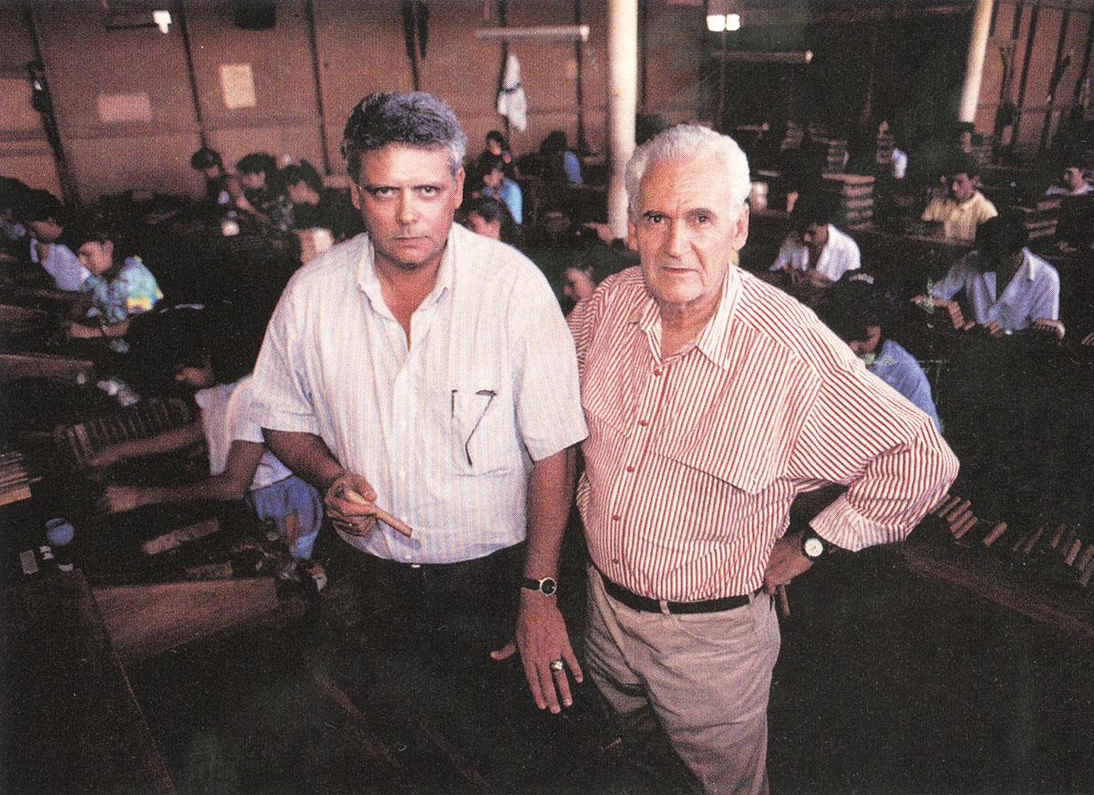 Tobacco grower and cigarmaker Nestor Plasencia (left) in Honduras in 1993.