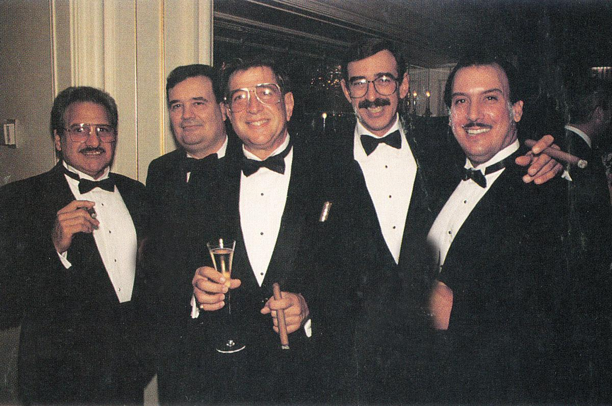 Carlos Fuente Sr., Hendrik Kelner, Benjamin Menendez, Manuel Quesada and Carlos Fuente Jr. at the Cigar Aficionado launch party, September 1992.