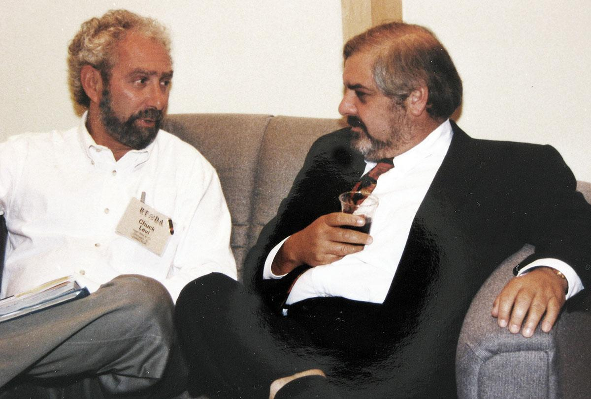 Chuck Levi (left) with Marvin R. Shanken at an early 1990s cigar trade show.