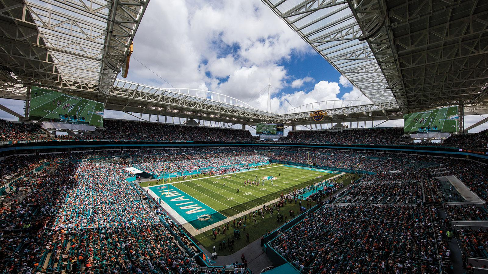 Miami's Hard Rock Stadium maximizes seating in the shade.