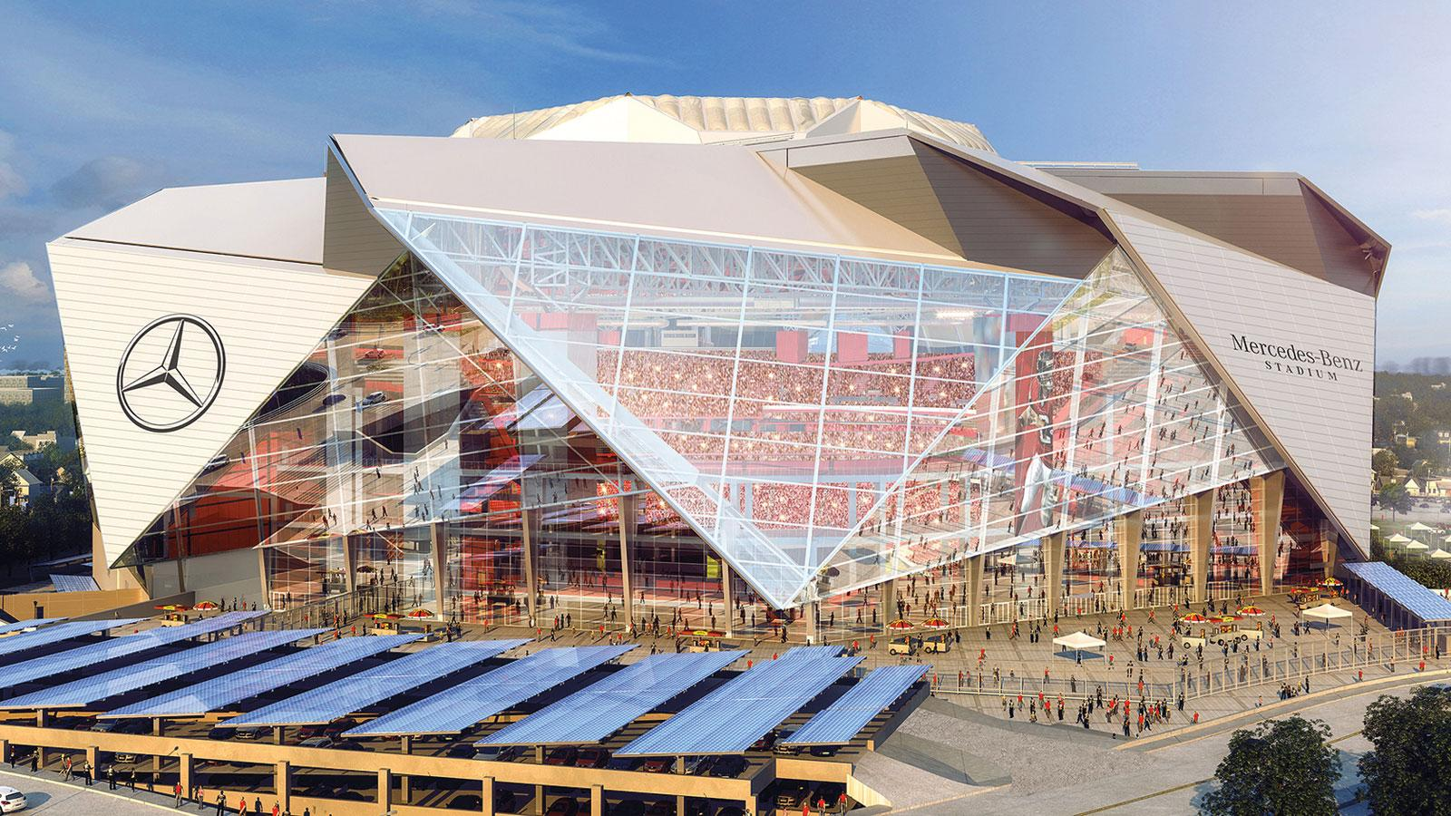 Atlanta's Mercedes-Benz Stadium drew inspiration from Rome's Pantheon with its oculus roof.