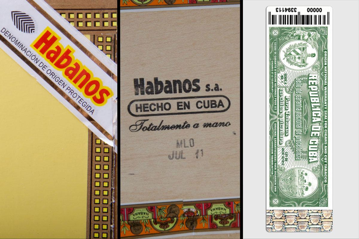 From left: the Habanos label, the stamp on the bottom of the box and the Cuba guarantee seal.
