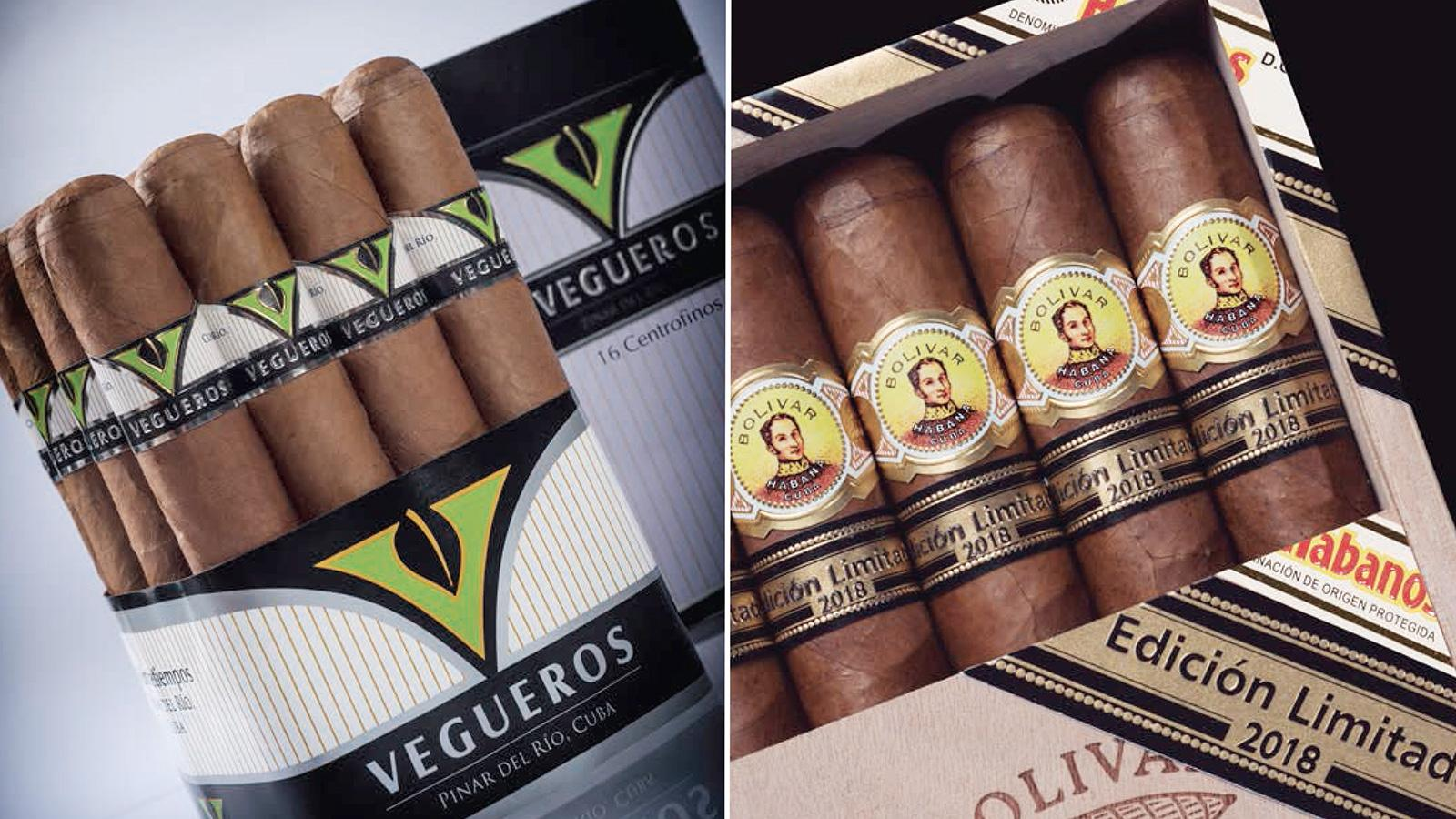 Habanos announced a new size for the value-brand Vegueros, left, while the Bolivar Soberano, right, is among the three Edición Limitada cigars for 2018.